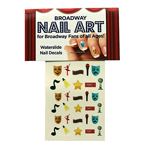 (Broadway Nail Art Water Slide Nail Art Decals Set - 30 Nail Decals - Broadway, Comedy Tragedy Masks, Star, Dancer, Comedy, Spotlight and more)