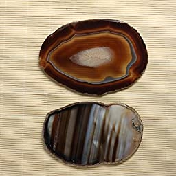 Hongjiantian Crystal Natural Sliced Agate Slab Coasters Agate Slice for Tea Cup (2pcs)