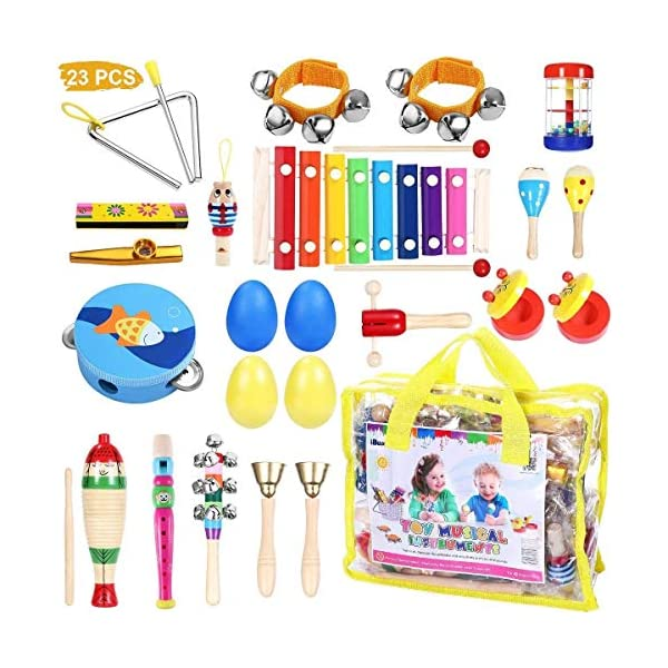 Toddler Musical Instruments – iBaseToy 23Pcs 16Types Wooden Percussion Instruments Tambourine Xylophone Toys for Kids Preschool Education, Early Learning Musical Toys for Boys Girls with Storage bag