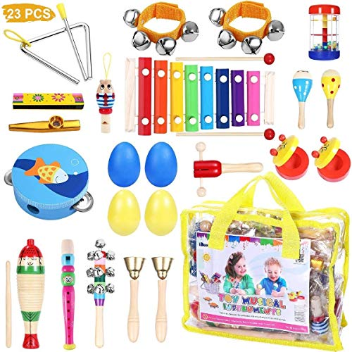 Toddler Musical Instruments - iBaseToy 23Pcs 16Types Wooden Percussion Instruments Tambourine Xylophone Toys for Kids Preschool Education, Early Learning Musical Toys for Boys Girls with Storage (Best Musical Instruments For Kids)