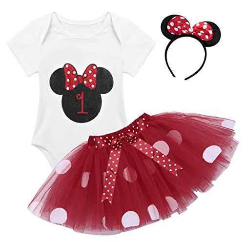 dPois Infant Toddlers Baby Girls 1st/2nd Birthday Party Cartoon 3 Pieces Outfit Romper Polka Dot Tutu Skirt with Headband Set Type F 6-12 -