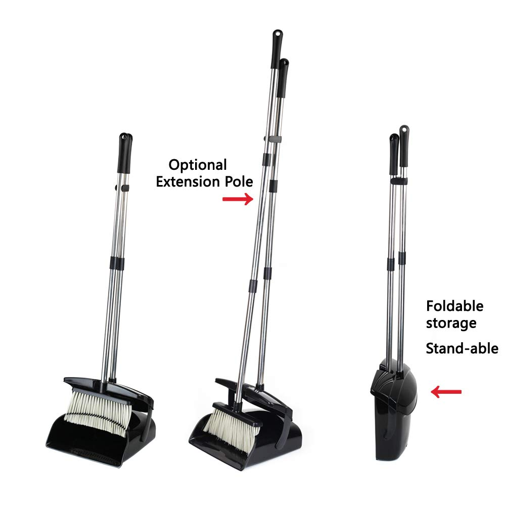 Broom and Dustpan Set with Lid [2019 New Design] Outdoor Indoor Broom Dust Pan 3 Foot Angle Heavy Push Combo Upright Long Handle for Kids Garden Pet Dog Hair Wood Floor Sweep Kitchen House (Black 02) by OLLSDIRE (Image #6)