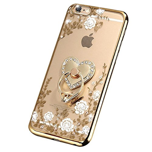 iPhone 7 Floral Crystal TPU Case--Inspirationc Soft Slim Bling Plating Rubber Cover for iPhone 7 4.7 Inch with Rhinestone Diamond and Detachable 360 Ring Stand-Gold and White