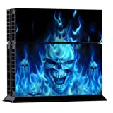 DSRG [NEW***] Digitally Printed Artwork BLUE FLAMING FIRE SKULL Vinyl Decal Stickers for PS4 GAME CONSOLE