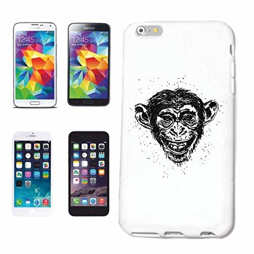 """cas de téléphone iPhone 7+ Plus """"FUNNY Chimpanzé Chimpanzé MONKEY GORILLA APE SILVER orang-outan RETOUR GIBBON"""" Hard Case Cover Téléphone Covers Smart Cover pour Apple iPhone en blanc"""