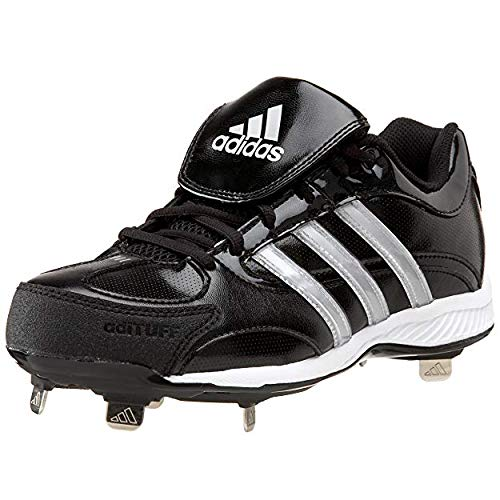 adidas Women's Fastpitch III Metal Softball Cleat,Black/White/Silver,7 M