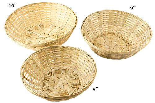 Round Bamboo Stackable Bread Basket, Set of 3 - 10, 9 and 8 Inch ()