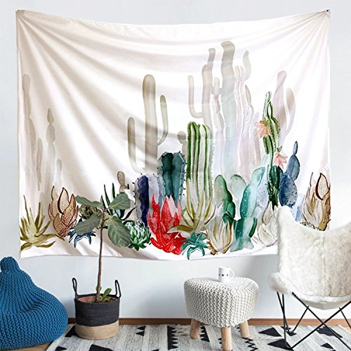 Cactus Landscape Tapestry Wall Hanging Cactus Plant Printed Tapestry Cactus Watercolor Tapestry Cactus Wall Tapestry for Kids Girls Boys Room Bedroom Living Room Dorm (M, 7#cactus) (Tapestry Landscape)