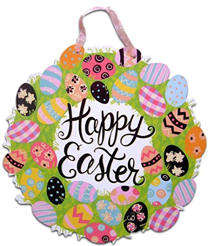 Happy Easter Sign for Windows Wall Hanging Doors School Classroom or Home Decoration (Happy Easter Egg Wreath)