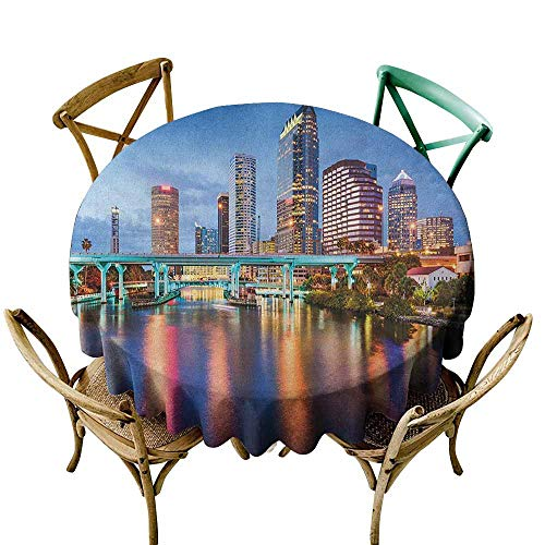 Sunnyhome Spill-Proof Table Cover City Hillsborough River Tampa Florida USA Downtown Idyllic Evening at Business District Multicolor Party Decorations Table Cover Cloth 60 INCH -