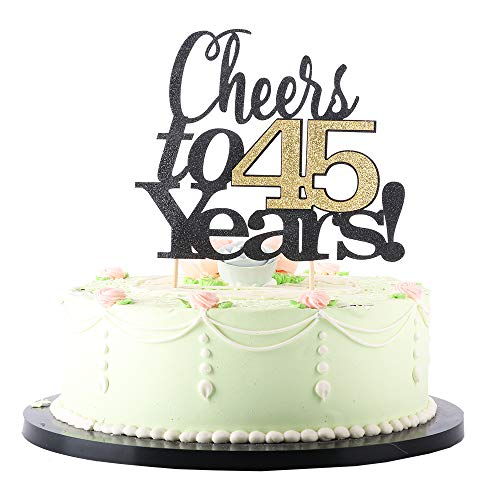 LVEUD Black Font Golden Numbers Cheers to 45 Years Happy Birthday Cake Topper -Wedding,Anniversary,Birthday Party Decorations (45th) -