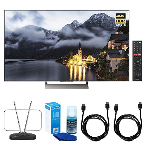 Sony XBR-65X900E 65-inch 4K HDR Ultra HD Smart LED TV (2017 Model) w/ TV Cut the Cord Bundle Includes, Durable HDTV and FM Antenna, Universal Screen Cleaner & 2x 6ft High Speed HDMI Cable - Black (Format Sony Large Tv)