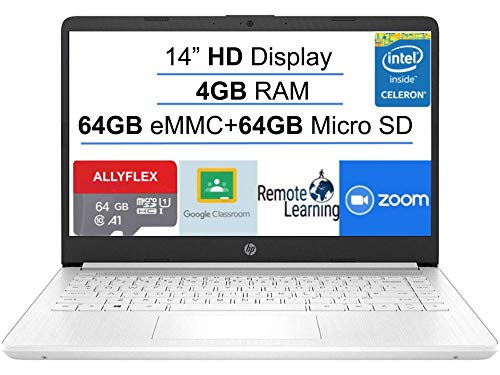 2021 Newest HP Stream 14-inch HD Laptop, White, Intel N4020 up to 2.8 G, 4G RAM, 128G Space(64G eMMC+64G Micro SD), WiFi…