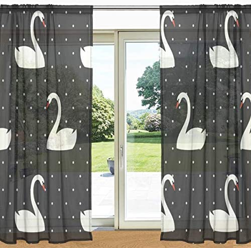 My Daily Swan Black White Polka Dots Print Sheer Window Door Curtain 2 Panels 55 x 84 , Rod Pocket Transparent Drapes for Living Room Bedroom Decor