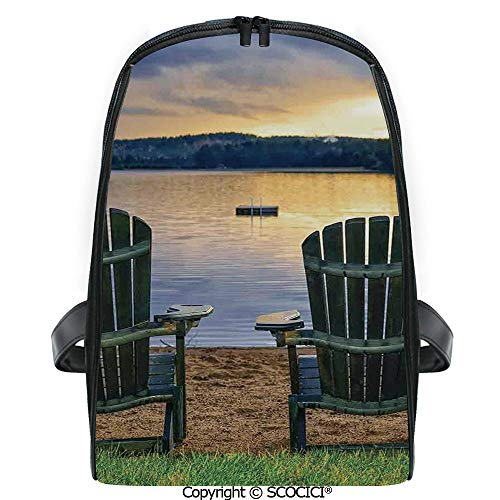 SCOCICI Casual Stylish Backpack Two Wooden Chairs on Relaxing Lakeside at Sunset Algonquin Provincial Park Canada 2019 Deals! One Size