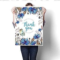 "Anshesix Canvas Wall Art Watercolor Cornflowers Greeting Card Template Art Stickers 32""x36"""