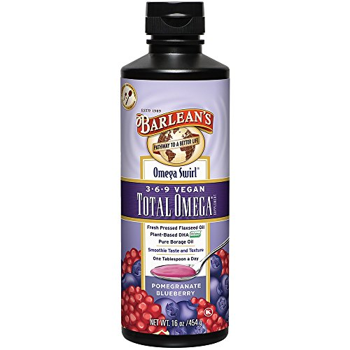 Barlean's Total Omega Vegan Swirl Flax/Borage Oil, Pomegranate Blueberry, 16-oz (Total Omega 3)
