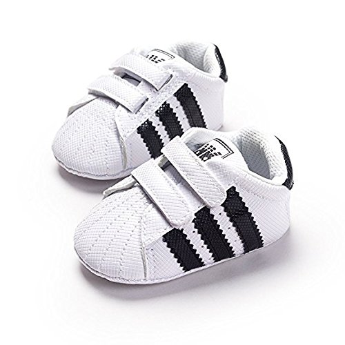 Baby Shoes Sneakers - LiveBox Newborn Baby Boys' Premium Soft Sole Infant Prewalker Toddler Sneaker Shoes (M: 6~12 months, White)