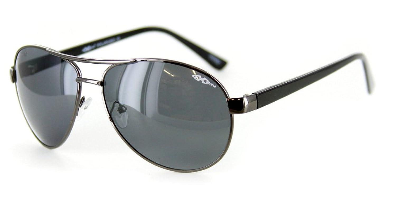 """Oxen 91038"" Slim Polarized Aviator Sunglasses (Gunmetal w/ Smoke Lens)"