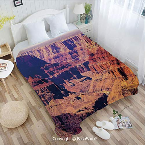 PUTIEN Unique Rectangular Flannel Blanket Grand Canyon in Arizona with Base Elevations North American Sublime Tribal Landscape Lightweight for Adults(49Wx59L)