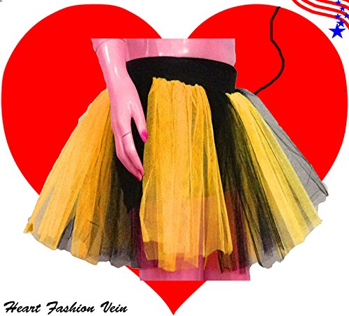 Plus Size Yellow Black Length 15 Two Layer Two Tone Stripe Tutu Skirt Bumble Bee -