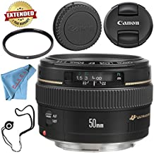Canon EF 50mm f/1.4 USM Lens 2515A003 + 58mm UV Filter + Fibercloth + Lens Capkeeper Bundle