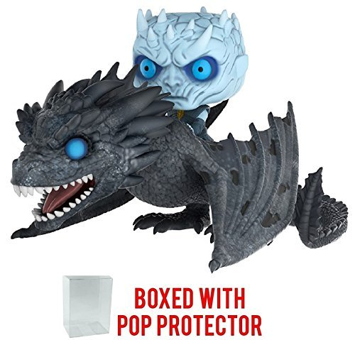 Funko Pop! Rides: Game of Thrones - Night King on Ice Viserion Dragon Vinyl Figure (Bundled with Pop Box Protector Case)