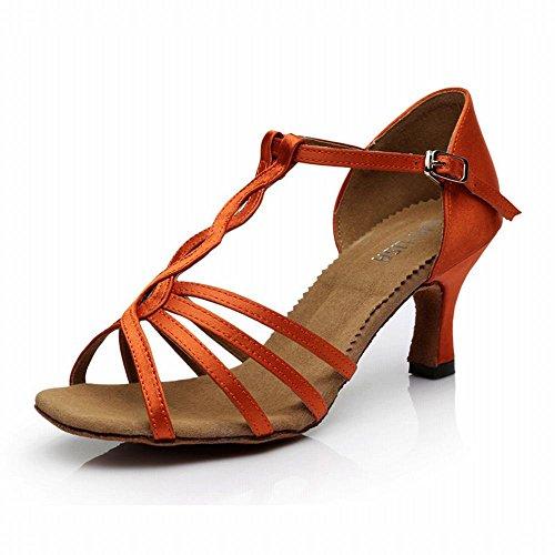 Tobillo Baile Danza Modern Baile de de Alto Baile BYLE Tacón Naranja Zapatos Fondo Latino de Samba Sandalias de Blando Amistad Zapatos 7CM Adulto de Onecolor Zapatos Cuero Jazz 6qIt7w