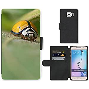 Hot Style Cell Phone Card Slot PU Leather Wallet Case // M00111084 Ladybug Insect Macro Garden Bug // Samsung Galaxy S6 (Not Fits S6 EDGE)