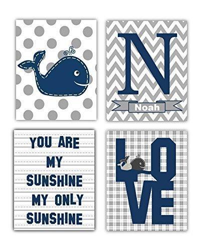 Elephant Art NOT CANVAS You are my sunshine Navy Blue and Gray Art Prints Navy Nursery Decor Unframed. Navy Blue Nursery Wall Art 4-8x10 PRINTS ONLY
