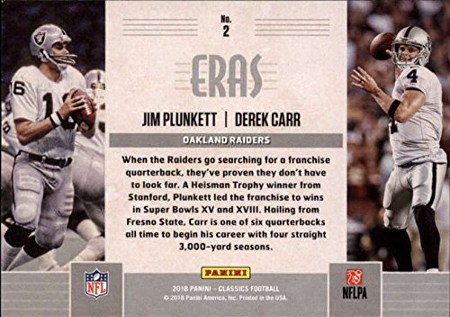 Amazon.com: 2018 Classics Football Eras #2 Derek Carr/Jim Plunkett Oakland Raiders Panini NFL Card: Collectibles & Fine Art