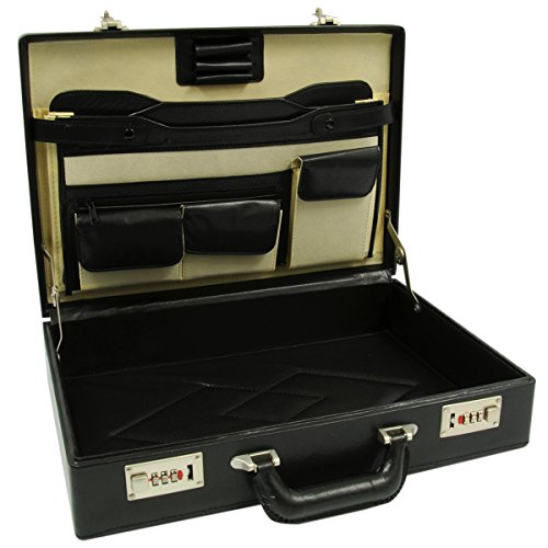 RoadPro HH-003PM/BK Black Leatherlike Briefcase