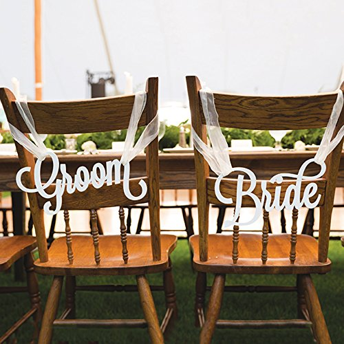Bride u0026 Groom Wedding Chair Signs & Amazon.com: Bride u0026 Groom Wedding Chair Signs: Handmade