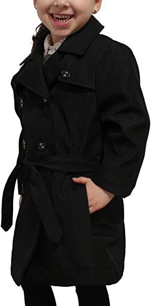Size 4 dollhouse Girls Toddlers Stylish Lightweight Spring Jacket with Belt Black
