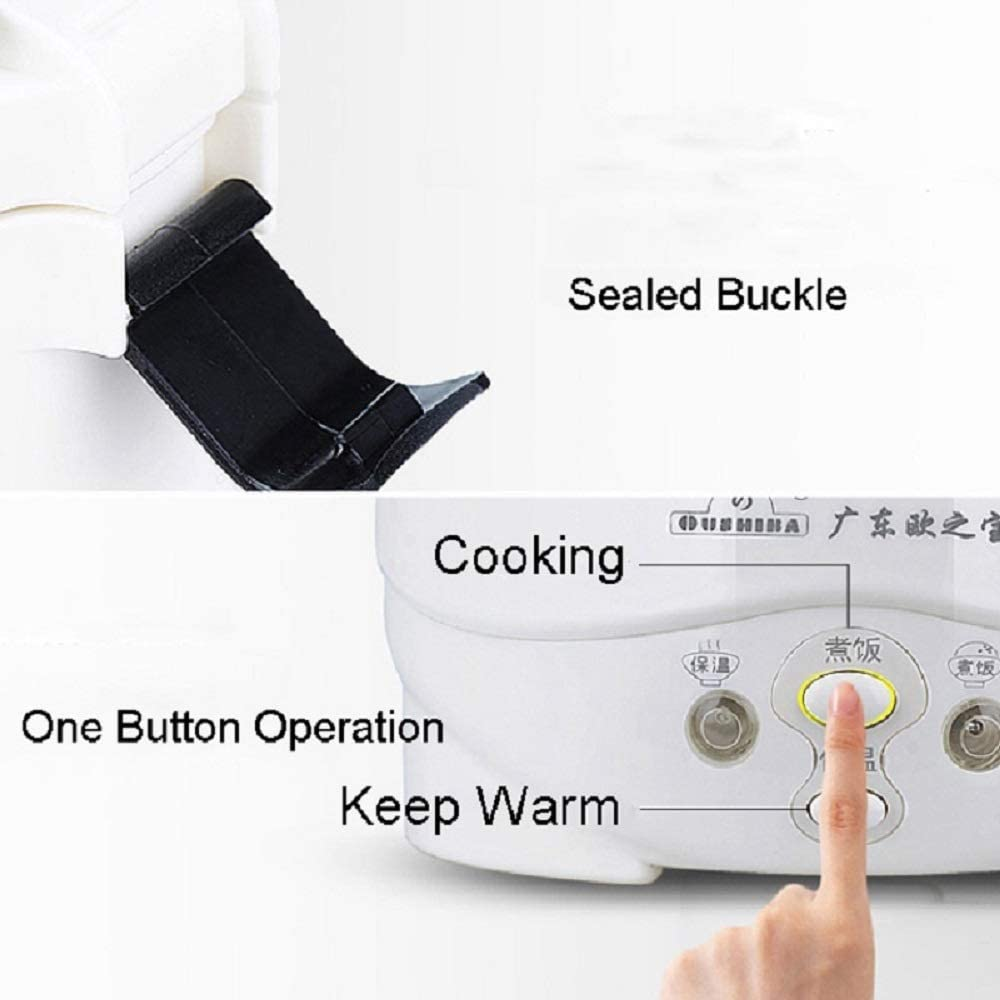 Mini Rice Cooker (1L/200W/220V) Unique and Stylish, Keep-Warm Function, Useful Little Cooker with Non-Stick Aluminum Easy Clean Inner Pot (Green) White-24v- for Truck