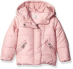 Jessica Simpson Baby Girls\' Bubble Jacket with Diamond Quilt Yoke, Light Pink, 6-9 Months