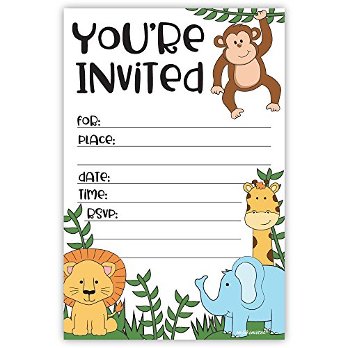 Jungle Safari Zoo Animals Invitations for Birthday or Baby Shower (20 Count with Envelopes)