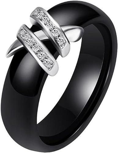 HIJONES Damen Keramik Ring mit Zirkonia Hochzeit Band