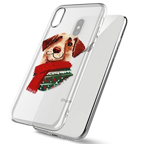 Christmas Funda iPhone X, FindaGift TPU Caja anti a prueba de choques a prueba de choques del teléfono del regalo de la Navidad de la protección completa de la pantalla de rasguño para iPhone X (Style Style 1