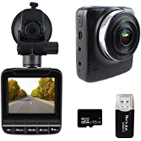 Dash Cam FHD 1080p 60fps Super Night Vision Car Camera DVR 2.3 LCD 170 Wide Angle Dashboard Recorder G-Sensor Loop Recording HDR Free 16GB SD Card