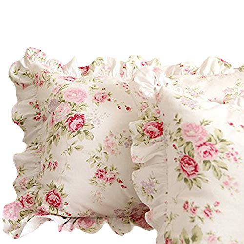 """FADFAY Shabby Pink Rose Floral Print Pillow Shams Elegant Country Style Vintage Ruffles Bedding Pillow Covers Standared Size 19"""" x 29"""""""