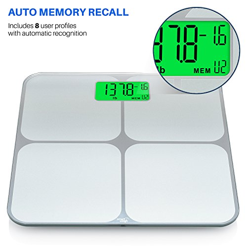 Smart Weigh Digital Body Weight Bathroom Scale with Weight Tracking and Step-On Technology, 440 Pounds, Recognizes and Stores 8 Users [2017 Upgraded Version] by Smart Weigh (Image #2)