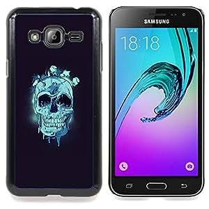 "Qstar Arte & diseño plástico duro Fundas Cover Cubre Hard Case Cover para Samsung Galaxy J3(2016) J320F J320P J320M J320Y (Cráneo azul"")"