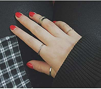 SOTOLAN 10 PCS Simple Bohemian Crystal Joint Knuckle Ring Sets Finger Rings Midi Ring Set Stackable Silver