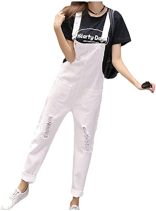 cheelot Womens with Pockets Ripped Casual Denim Loose Sexy Bib Pants