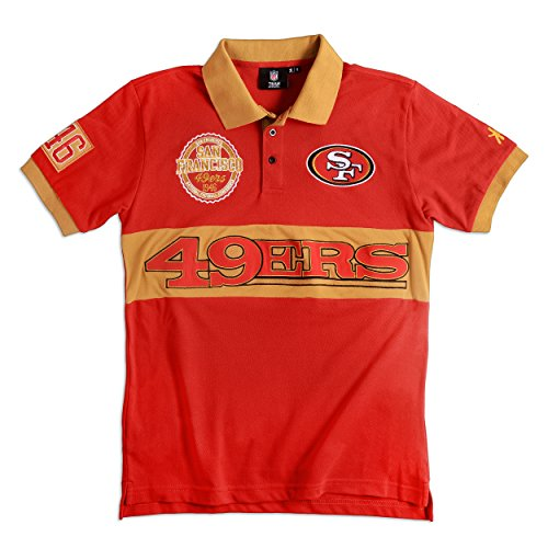 KLEW NFL San Francisco 49ers Men's Cotton Wordmark Short Sleeve Polo Shirt, Red, X-Large