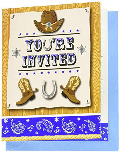 8-Count Foldover Party Invitations, Blue Bandana (Rodeo Birthday Invitations)