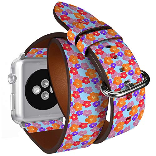 Compatible with Apple Watch (Small 38mm/40mm) Series 1,2,3,4 - Double Tour Bracelet Strap Wristband Smart Watch Band Replacement - Briar Wild Rose Texture Flowers