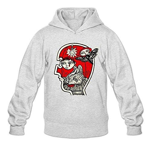 TMILLER Men's Incubus Band Art Design Hoodied Sweatshirt Size M Light Grey