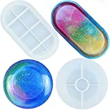 2PCS Silicone Resin Molds, Jewelry Soap Dish Resin Molds Epoxy Resin Tray Molds for DIY Jewelry Tray, Ring Holders, Soap Dish, Home Decoration